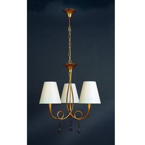 Lampa wisząca paola 3l złota z kremowymi abażurami, 3542 marki Mantra
