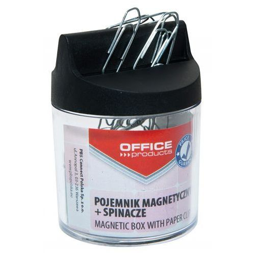 Pojemnik magn. na spinacze , okrągły, ze spinaczami, transparentny marki Office products