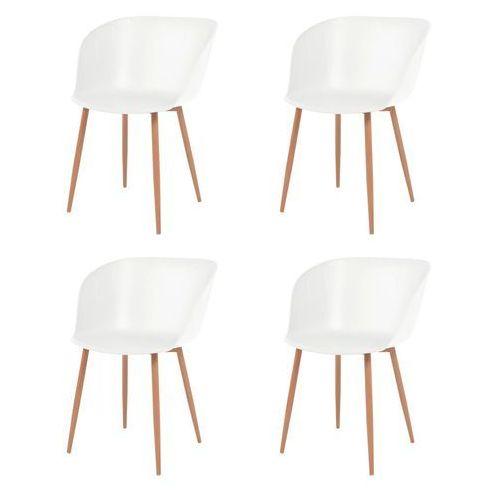 Vidaxl komplet 4 krzeseł, białe, plastikowe siedziska i stalowe nogi (8718475564805)