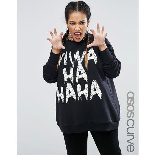 halloween sweatshirt with glow in the dark evil laugh print - black od producenta Asos curve