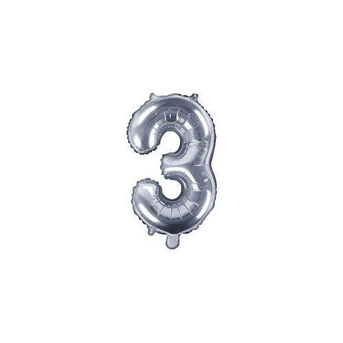 Party deco Balon foliowy cyfra 3 srebrna - 35 cm