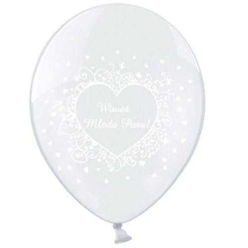 Twojestroje.pl Balony lateks przezroczyste wiwat młoda para 30cm 50szt. (5902230703599)