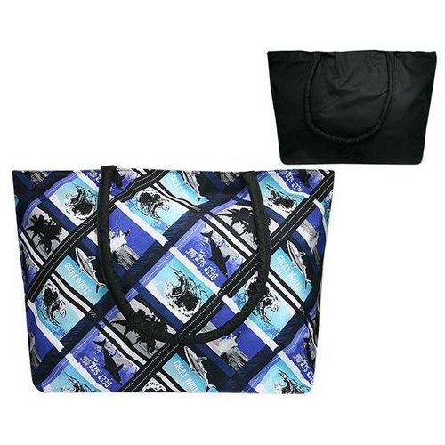 Torba plażowa z motywem morskim - czarny ||niebieski ||granatowy ||biały ||wielokolorowy ||wielobarwny ||morski