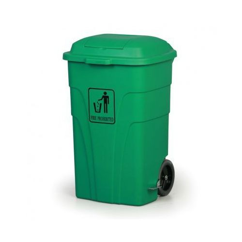 Kosz uniwersalny z pedałem 120 litrów, zielony, kolor zielony