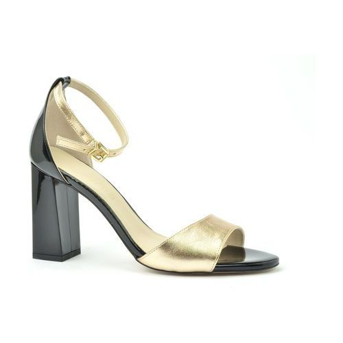 Sandały 4696 złoto 3 czarny lakier, Anis, 36-40