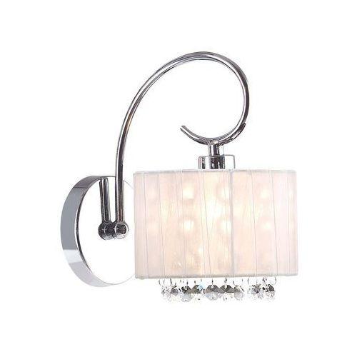 Kinkiet lampa glamour span mbm1583 /1 wh abażurowa oprawa okrągła z kryształkami crystals chrom biała przezroczysta marki Italux