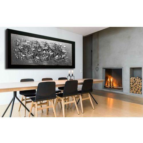 Srebrne faktury - duży nowoczesny abstrakcyjny obraz nie tylko do salonu