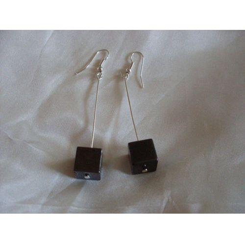 K-00079 Kolczyki z szarymi kostkami hematytu, 28-04-11