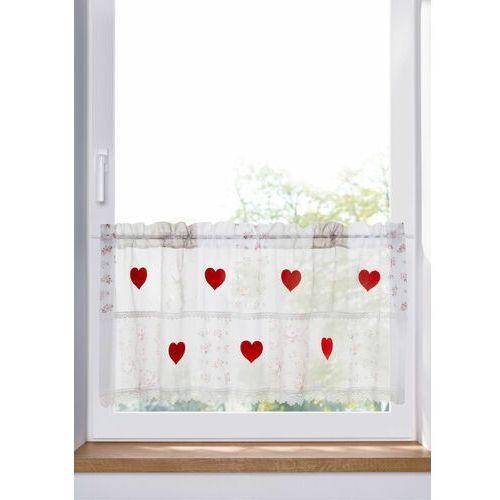 Bonprix Zazdrostka z aplikacją w kształcie serc biało-czerwony