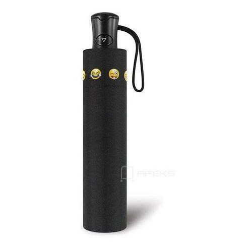 Happy rain essentials emoticon składany damski parasol automatyczny mini ac - czarny