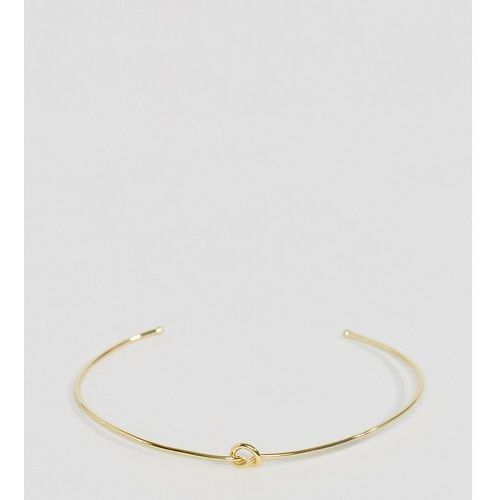 Asos curve  gold plated sterling silver knot cuff bracelet - gold