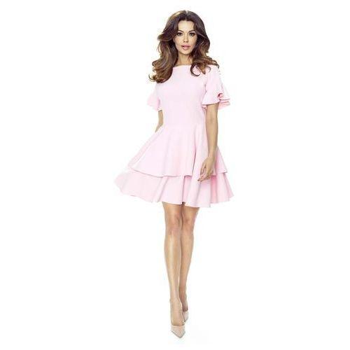 Różowa Sukienka z Rozkloszowanym Rękawem, B62-01pi