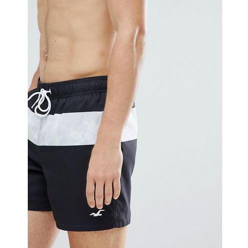 Hollister core guard mid stripe print swim shorts seagull logo in black - Black, szorty