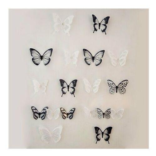 Naklejki 3D motyle czarno-biały, 18 szt.,
