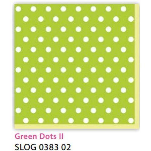 Pol-mak Serwetki 33 x 33 cm slog 038302 kropki białe na zielonym tle