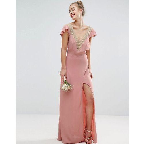 ASOS WEDDING Lace Applique Delicate Strap Maxi Dress - Pink, kolor różowy