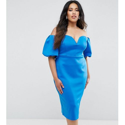 ASOS CURVE Scuba Puff Sleeve Bardot Midi Dress - Blue