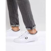 kendrick tipped cuff canvas trainers in white - white marki Fred perry