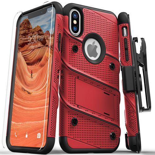 Zizo Bolt Cover Etui Pancerne iPhone Xs / X (Red/Black) + Szkło Hartowane Na Ekran, kolor czarny