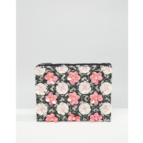 grid floral zip top clutch bag - multi marki Asos