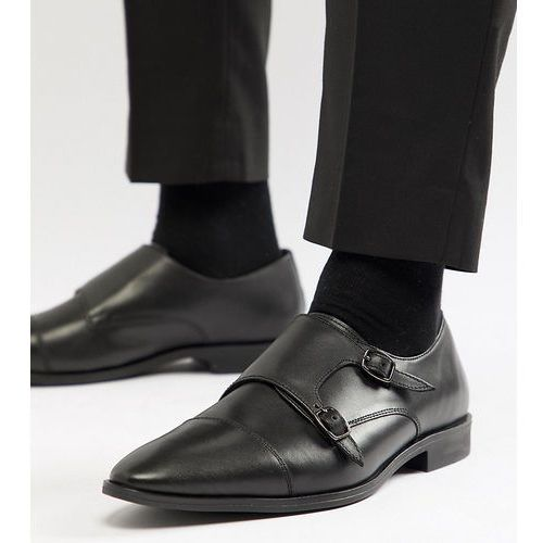 wide fit monk shoes in black leather - black marki Frank wright