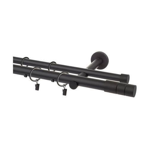 Karnisz CYLINDER 200 cm podwójny czarny mat 25 mm metalowy INSPIRE
