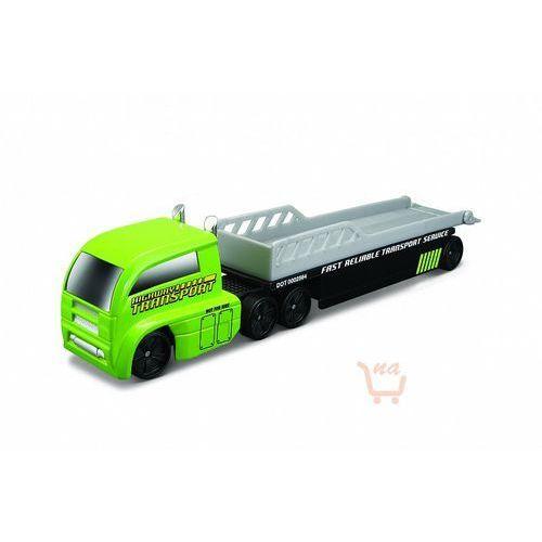 highway haulers – ciężarówka z naczepą (laweta) kolor zielono-srebrny marki Maisto