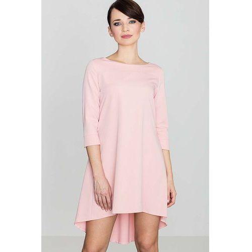 Różowa Asymetryczna Sukienka z Plisami, w 4 rozmiarach