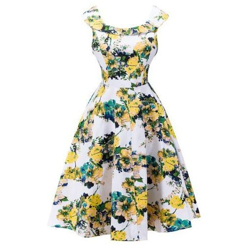 Sleeveless Blossom Print High-Waisted Swing Dress