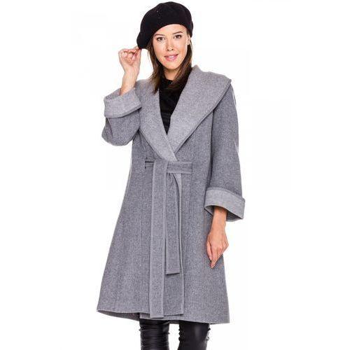 Szary płaszcz z paskiem -  marki Vito vergelis