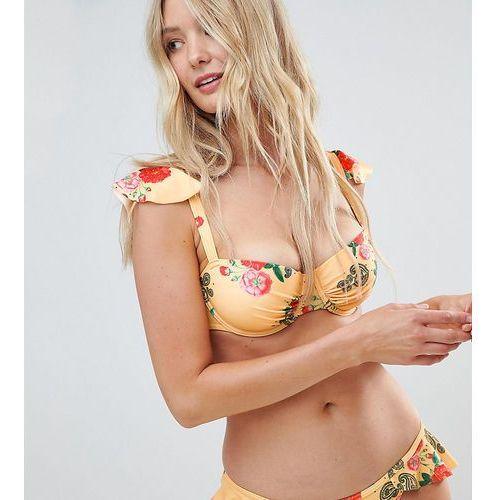 Peek & Beau Fuller Bust Floral Bikini Top DD-G - Yellow