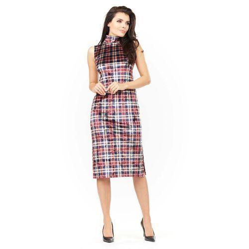 Sukienka Ołówkowa Midi z Półgolfem w Kratkę, ołówkowa