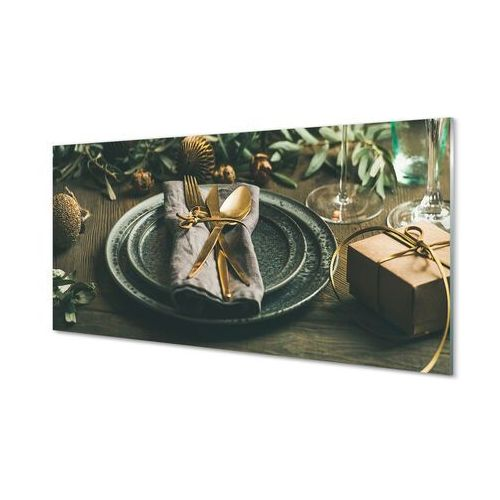 Obrazy akrylowe Talerz sztućce bombki prezenty