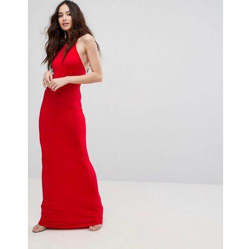 Boohoo halterneck maxi dress - red