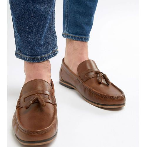 ASOS DESIGN Wide Fit Tassel Loafers In Tan Leather With Fringe And Natural Sole - Tan