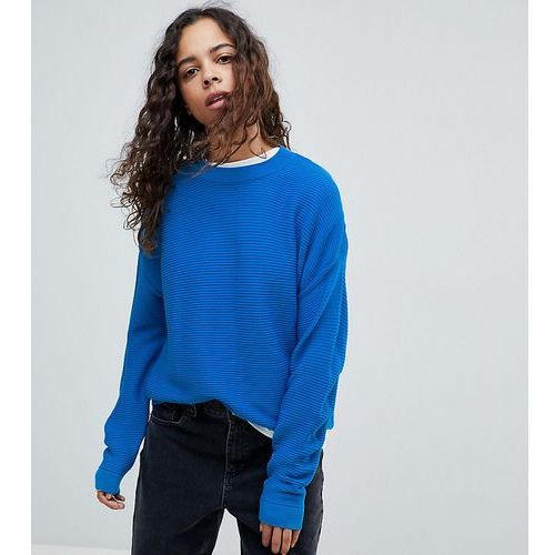 oversized jumper in ripple stitch - blue, Asos petite