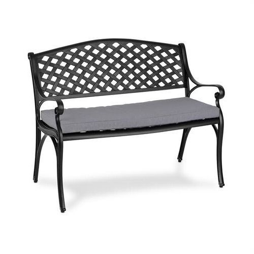 Blumfeldt Pozzilli BL ławka ogrodowa & poduszka na siedzisko zestaw, czarny / szary (4060656194467)