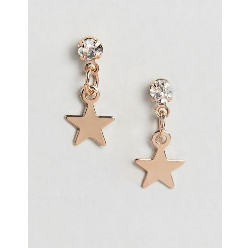 Designb london gold star drop earrings - gold