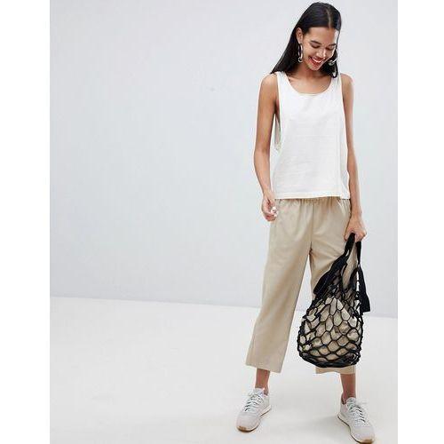 Weekday cropped woven wide leg trousers - beige