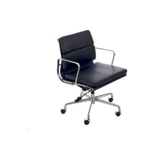 D2.design Fotel biurowy ch inspirowany ea217 skóra, chrom - czarny (5902385712774)