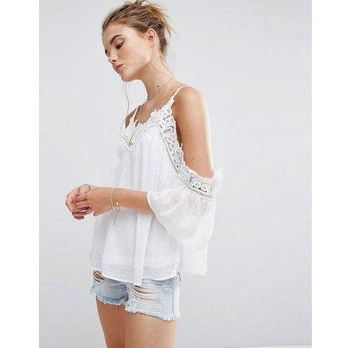 New look  crochet insert cold shoulder cami top - white