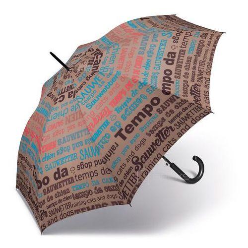 Happy rain essentials slogan długi damski parasol automatyczny long ac - szary