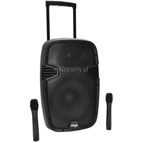 Stagg PTMS 12U BTWR przenośny system nagłośnieniowy 160W, zasilanie akumulatorowe, wbudowany mikrofon bezprzewodowy podwójny, MP3/USB/SD/Bluetooth