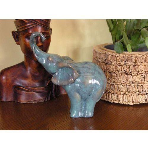 PIĘKNY GRANITOWY SŁOŃ Z PODNIESIONĄ TRĄBĄ z kategorii Rzeźby i figurki
