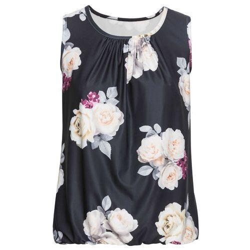 Shirt (2 szt.) biały z nadrukiem + czarno-szaro-niebieski w paski marki Bonprix