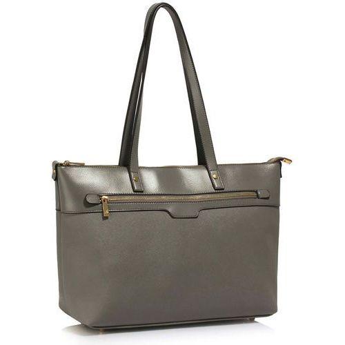 Duża szara klasyczna torebka na ramię - szary marki Wielka brytania