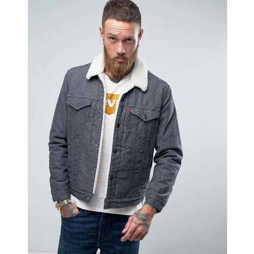 Levis type 3 borg jacket biffy grey brushed - grey