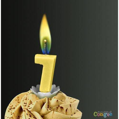 """Świeczka cyferka siódemka """"7"""" z żółtym płomieniem - 1 szt. marki Sens"""