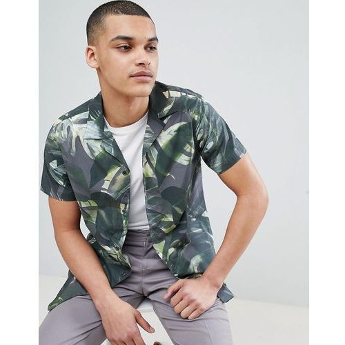 + shirt with all over print and revere collar - green marki Selected homme