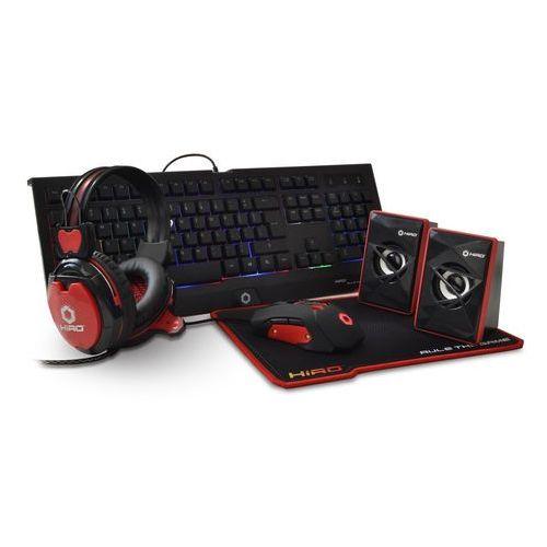 Zestaw gamingowy 5 w 1 HIRO Destro (klawiatura, mysz, słuchawki, podkładka, głośniki) - OKAZJE